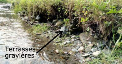 2 paillettes trouvées dans une gravière réputée aurifère du Couserans